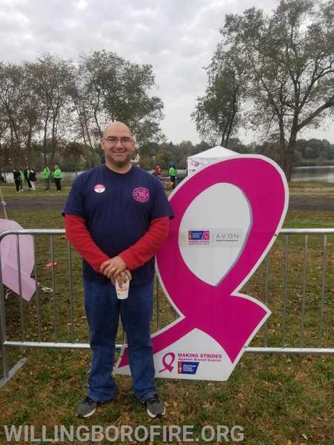 Firefighter Clark at the Making Strides Against Breast Cancer of Greater Philadelphia & Southern NJ fundraiser.
